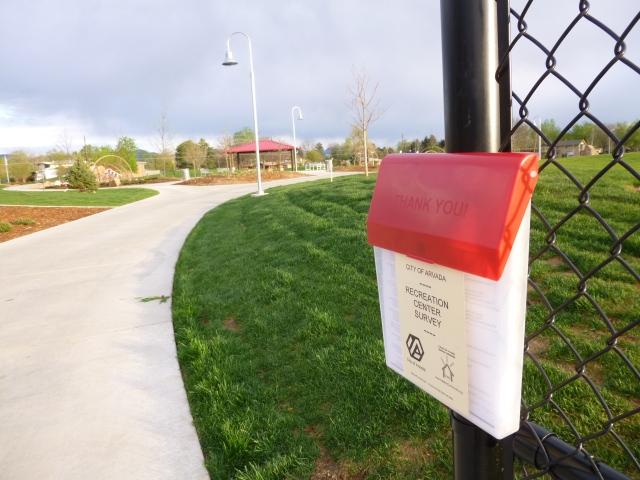 Survey collection box at Wolff Park southeast