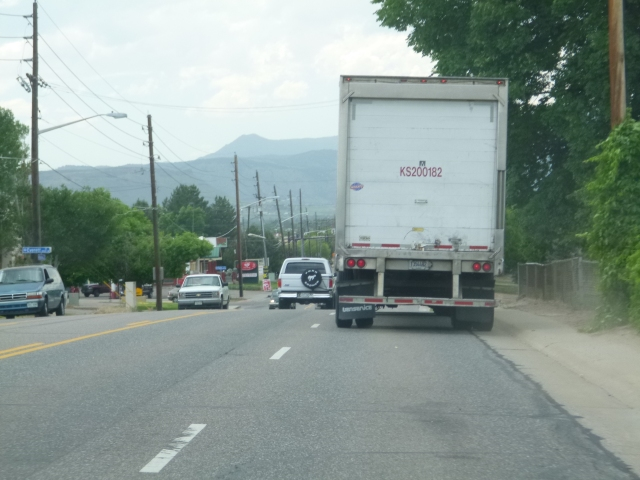 King Sooper delivery truck driving in the gutter on Ralston Road