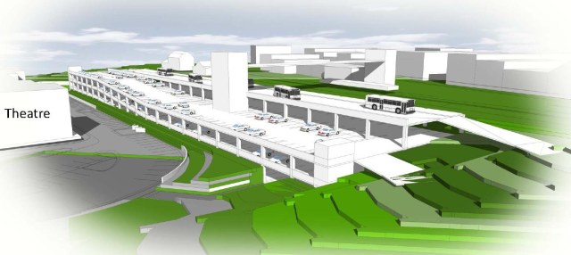 Proposed 690-space Olde Town parking structure.  The Flour Mill is above the left-most bus.
