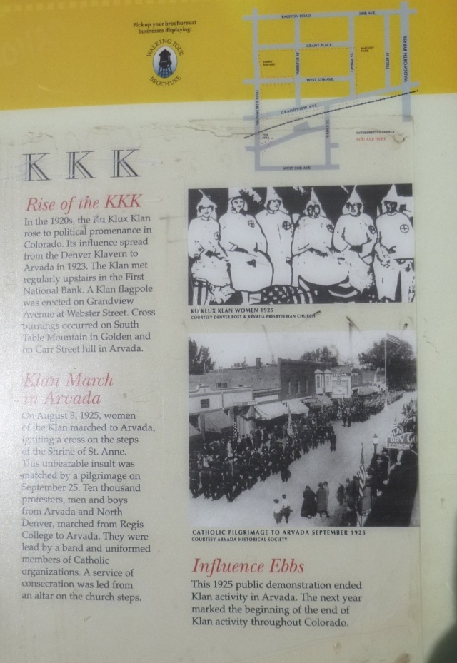 KKK in Arvada display sign at 57th & Webster