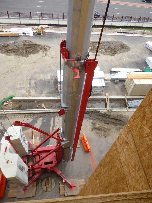The base of a construction crane and its counterweights