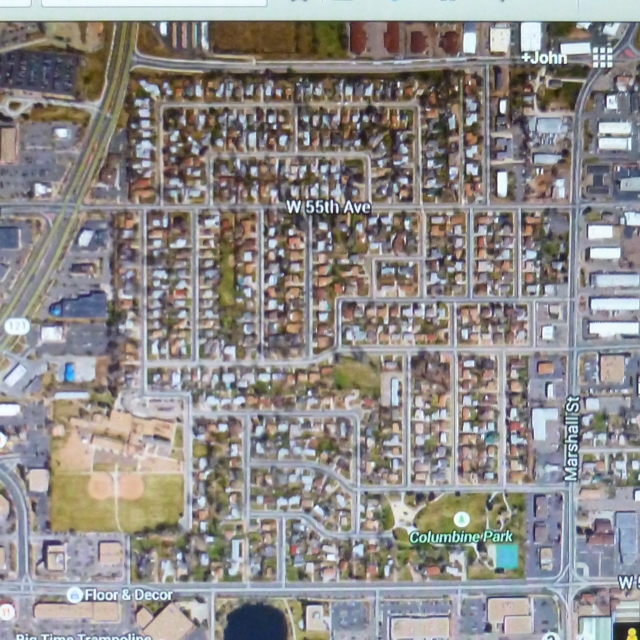 Satellite view of the Columbine neighborhood in SE Arvada