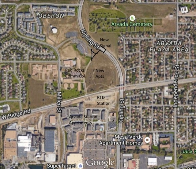 Site for the new apartments, Arvada Ridge Station, Red Rocks expansion and the new road