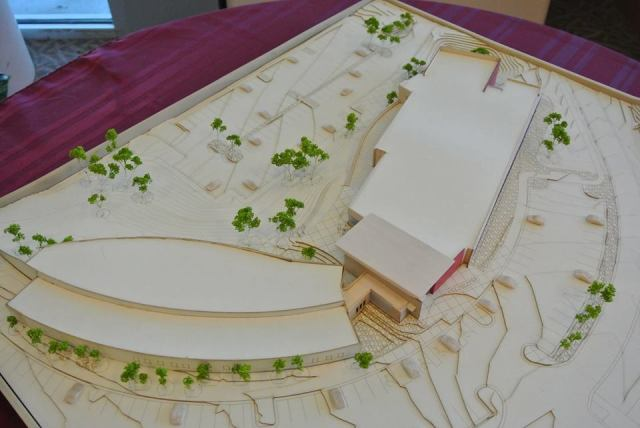 RRCC expansion model.  The curved building is the existing facility.