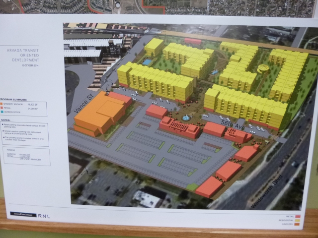 Nine Acre Site east of Vance development concept with housing (yellow), retail (red), and grocery (orange)