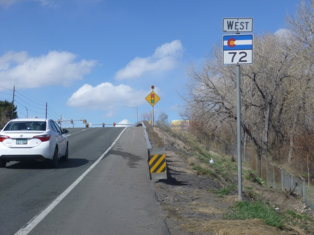 State Highway 72 travels up Ward Road, turns onto 64th, turns again onto Indiana, and then becomes Coal Creek Canyon Road
