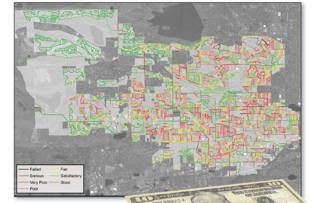 Low-res version of Arvada's 2015 road condition survey map from the Arvada Report. State highways are not shown.