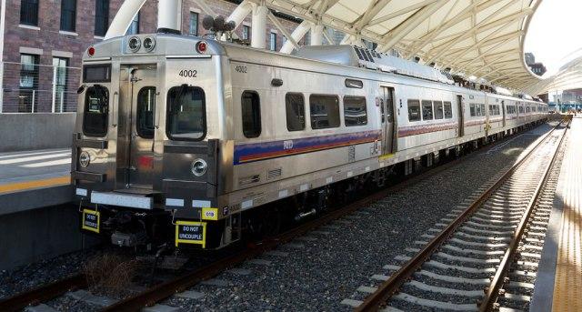 Commuter rail train at Denver Union Station