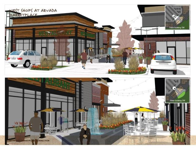 The food plaza being built in the Arvada Marketplace